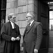 """12/05/1958 05/12/1958 12 May 1958<br /> Mr Louis O'Connell at High Court with his Barrister Mr Sean MacBride.  Court case in question was Lenihan vs O'Connell From Con Houlihan 'The back pages of village life' http://www.independent.ie/opinion/columnists/con-houlihan/poetic-licence-1421362.html a magazine based in Kerry, was owned by Charlie Lenihan. He was a wealthy man that went into politics. Charlie got elected to the county council with a big majority and failed by a few hundred votes to get elected to the Dail. He would have won that election handsomely if he didn't despise number-two votes and told people who offered what to do with them. He had a drink problem and eventually it brought him to a rather early grave.One day on his way to Dublin to get the publication printed Mr Lenihan made changes to the text.He referred to Louis O'Connell, a solicitor and a county councillor, as """"crooked in his business and in his politics"""". A libel action followed in which Lenihan hadn't a hope. Sean McBride was representing Louis O'Connell and, of course, he won easily. Sean had a slight speech defect - he couldn't pronounce a certain consonant in the alphabet. He gave a hitch unto his gown and with a piercing look said: """"Come tell me, Mr Lenihan, did you call this man a cook?""""There was loud laughter until eventually we paid for it. The damages were heavy and eventually led to the demise of a brave little magazine. Seán MacBride (26/01/1904 – 15/01/1988) was an Irish government minister and prominent international politician as well as a Chief of Staff of the IRA. Rising from a domestic Irish political career, he founded or participated in many international as well as non-governmental organizations of the early 20th century, including the United Nations, the Council of Europe, and Amnesty International. He received the Nobel Peace Prize in 1974, the Lenin Peace Prize for 1975–76, and the UNESCO Silver M <br /> Sean MacBride Minister for Foreign Affairs from 19-2-1948 to 13"""
