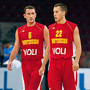 Montenegro's Goran JERETIN (L) and Boris BAKIC (R) during their Istanbul CUP 2011match played Ukraine between Montenegro at Abdi Ipekci Arena in Istanbul, Turkey on 24 August 2011. Photo by TURKPIX
