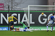 Oxford United Midfielder, Joe Rothwell (18) scores an early goal to make it 1-0 during the EFL Sky Bet League 1 match between Oxford United and Bristol Rovers at the Kassam Stadium, Oxford, England on 10 February 2018. Picture by Adam Rivers.