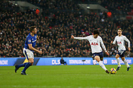 Heung Min Son of Tottenham Hotspur has a shot at goal .<br /> Premier league match, Tottenham Hotspur v Everton at Wembley Stadium in London on Saturday 13th January 2018.<br /> pic by Kieran Clarke, Andrew Orchard sports photography.