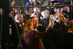 © Licensed to London News Pictures. 31/01/2020. London, UK. Brexit Party Leader NIGEL FARAGE arrives at the event as Supporters of Brexit celebrate in Westminster, London, on the day that the UK leaves the European Union. 51. 9% of the UK population voted to leave the EU in a referendum in June 2016. Photo credit: Ben Cawthra/LNP