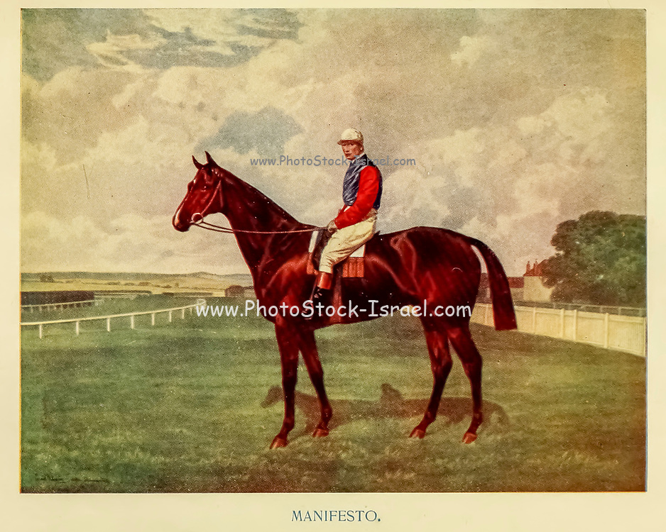 Manifesto [Manifesto (foaled 1888) was a British National Hunt racehorse best known for winning the Aintree Grand National twice and running in the race a record eight times. He was instrumental in restoring the prestige and popularity to the Grand National as the race had been marred by corruption in previous years]. From the book ' English sport ' by Alfred Edward Thomas Watson, Published in London by Macmillan and Co. Limited and in New York by Macmillan Company. in 1903