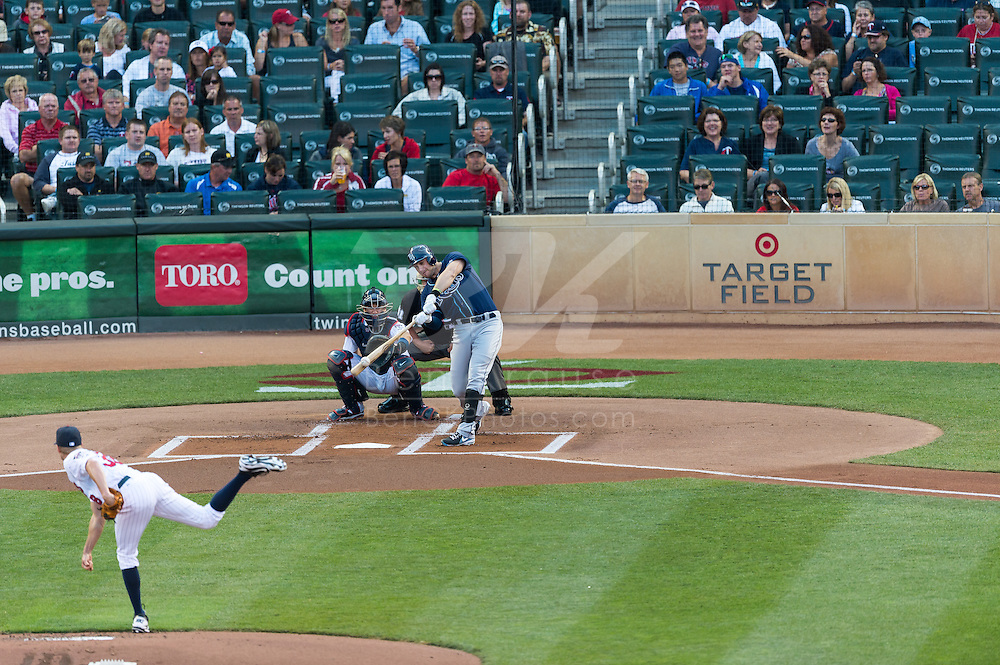 Evan Longoria (3) of the Tampa Bay Rays bats during a game against the Minnesota Twins on August 10, 2012 at Target Field in Minneapolis, Minnesota.  The Rays defeated the Twins 12 to 6.  Photo: Ben Krause