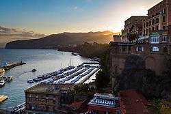 Sorrento, Italy, September 20 2017. Shafts of morning sunlight catch the dawn haze in Sorrento, Italy. © Paul Davey