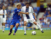 Photo Aidan Ellis.<br />Everton v Bologna (Colin Harvey Testimonial). 10/08/2003.<br />Everton's Niclas Alexanderson and Bologna's Julio Cruz