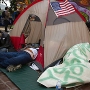 Occupy LA protesters at their City Hall camp. They faced eviction at 12:01am on Monday, Nov 28th but the deadline passed and the camp remained in tact, though many had voluntarily left.