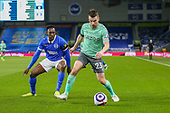 Everton defender Seamus Coleman (23) from Brighton and Hove Albion forward Danny Welbeck (18) during the Premier League match between Brighton and Hove Albion and Everton at the American Express Community Stadium, Brighton and Hove, England UK on 12 April 2021.