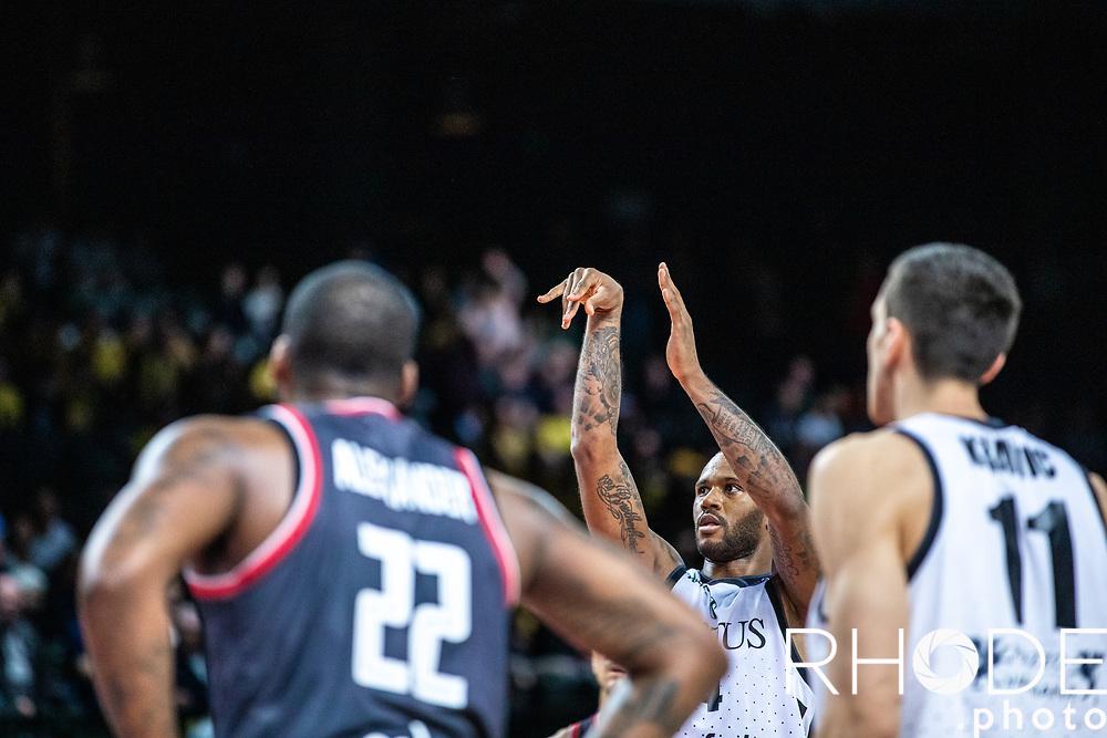 Amath M'Baye (FRA/Segafredo Virtus Bologna) free throw follow through focus<br /> <br /> Basketball Champions League Final Four Antwerp 2019<br /> Semi-Final: Virtus Segafredo Bologna (ITA) vs. Brose Bamberg (GER) : 67-50 <br /> <br /> ©RhodePhoto