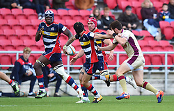 Ryan Edwards of Bristol Rugby off loads the ball - Mandatory by-line: Paul Knight/JMP - 22/10/2017 - RUGBY - Ashton Gate Stadium - Bristol, England - Bristol Rugby v Doncaster Knights - B&I Cup