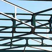 Complicated metals against blue sky