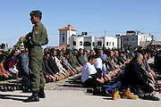 The Friday prayer, today specially held at the Palestinian Authority (PA) headquarter, last residence and burial site of Yasser Arafat, in the Palestinian capital Ramallah, sees hundreds of people gathering in silence around the Imam, on Friday, Nov. 11, 2005. Top officials, foreign diplomats, and the current President of the Palestinian Authority, Mahmoud Abbas, also commemorate four of the victims of the recent terrorist attacks in Amman, Jordan, which have left 53 dead, 23 of whom Palestinian. Here a mausoleum and a museum in honour of Arafat will be built soon. **ITALY OUT**