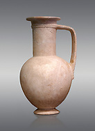 """Minoan stone ewer jug from the  Knossos-Isopata """"Royal Tomb"""" 1600-1500 BC BC, Heraklion Archaeological  Museum, grey background. .<br /> <br /> If you prefer to buy from our ALAMY PHOTO LIBRARY  Collection visit : https://www.alamy.com/portfolio/paul-williams-funkystock/minoan-art-artefacts.html . Type -   Heraklion   - into the LOWER SEARCH WITHIN GALLERY box. Refine search by adding background colour, place, museum etc<br /> <br /> Visit our MINOAN ART PHOTO COLLECTIONS for more photos to download  as wall art prints https://funkystock.photoshelter.com/gallery-collection/Ancient-Minoans-Art-Artefacts-Antiquities-Historic-Places-Pictures-Images-of/C0000ricT2SU_M9w"""