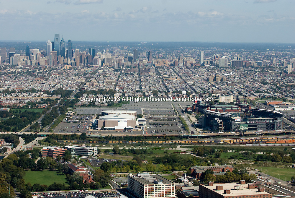 Aerial view of South Philadelphia Sports stadium complexes, Lincoln Financial Field, Citizens bank Park, Wachovia Center and Spectrum with City in Background