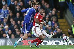 8 May 2017 - Premier League Football - Chelsea v Middlesbrough<br /> Marcos Alonso of Chelsea has a shot<br /> Photo: Charlotte Wilson