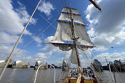 © Licensed to London News Pictures. 30/08/2013. London, UK. Morgenster, a Dutch Brig Type Tall Ship, Length 33.33 meters, at the Thames Barrier as part of boat trip for Thames Tall Ship cruises and marking one year until The Tall Ship Regatta, Falmouth to Greenwich in August 2014. Photo credit: Mike King/LNP
