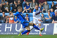 Matty Done crosses the ball during the EFL Sky Bet League 1 match between Gillingham and Rochdale at the MEMS Priestfield Stadium, Gillingham, England on 30 March 2019.