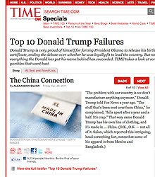 Time magazine tearsheet, China label