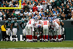 New York Giants offense in a huddle during the NFL game between the New York Giants and the Philadelphia Eagles on November 1st 2009. The Eagles won 40 to 17 at Lincoln Financial Field in Philadelphia, Pennsylvania. (Photo By Brian Garfinkel)