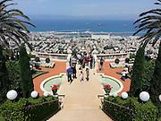 Israel, Haifa. The Bahai gardens, downtown and the bay of Haifa