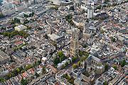 Nederland, Utrecht, Utrecht, 28-09-2014; Domplein met het ontbrekende middenschip van de kerk, rechts de Domkerk (het koor), links de Domtoren. Buurkerk en Oudegracht.<br /> <br /> Dom Tower with the missing nave of the Dom Church (St. Martin's Cathedral).<br /> luchtfoto (toeslag op standard tarieven);<br /> aerial photo (additional fee required);<br /> copyright foto/photo Siebe Swart