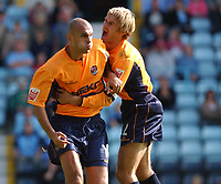 Fotball<br /> Foto: SBI/Digitalsport<br /> NORWAY ONLY<br /> <br /> Coca-Cola Championship.<br /> Coventry City V Millwall 21/08/2004<br /> <br /> Millwall goal scorer Danny Dichio celebrates is goal with team mate Matt Lawrence