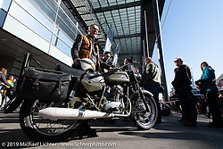 Georg Imbodena rode his fairly rare 1973 350 cc Condor (the last surviving Swiss manufactured motorcycle brand) army bike to the Swiss-Moto Customizing and Tuning Show. Zurich, Switzerland. Sunday, February 24, 2019. Photography ©2019 Michael Lichter.