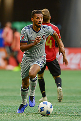 October 21, 2018 - Atlanta, GA, U.S. - ATLANTA, GA Ð OCTOBER 21:  Chicago's Johan Kappelhof (4) moves the ball up the field during the match between Atlanta United and the Chicago Fire on October 21st, 2018 at Mercedes-Benz Stadium in Atlanta, GA.  Atlanta United FC defeated the Chicago Fire by a score of 2 to 1.  (Photo by Rich von Biberstein/Icon Sportswire) (Credit Image: © Rich Von Biberstein/Icon SMI via ZUMA Press)