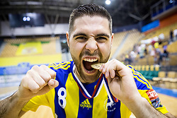 Blaz Janc celebrates as National Champions 2017 during trophy ceremony after handball match between RK Celje Pivovarna Lasko and RK Gorenje Velenje in Last Round of 1. Liga NLB 2016/17, on June 2, 2017 in Arena Zlatorog, Celje, Slovenia. Photo by Vid Ponikvar / Sportida