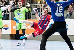 11.03.2017, Halle Hollgasse, Wien, AUT, HLA, SG INSIGNIS Handball WESTWIEN vs HC Fivers WAT Margareten, Oberes Playoff, 5. Runde, im Bild Julian Schiffleitner (SG INSIGNIS Handball WESTWIEN), Vincent Schweiger (HC FIVERS WAT Margareten) // during Handball League Austria, 5 th round match between HC Fivers WAT Margareten and SG INSIGNIS Handball WESTWIEN at the Halle Hollgasse, Vienna, Austria on 2017/03/11, EXPA Pictures © 2017, PhotoCredit: EXPA/ Sebastian Pucher