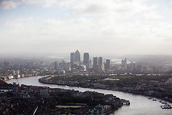 © Licensed to London News Pictures. 10/10/2013. London, UK. After awaking to a fresh and chilly Autumnal morning, the River Thames and Canary Wharf are seen from the top of the Shard in London today (10/10/2013). Photo credit: Matt Cetti-Roberts/LNP