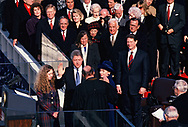 William Jefferson Clinton taking the oath of office on January 20, 1993.<br />Photo by Dennis Brack