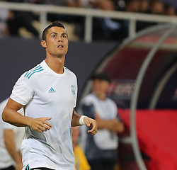 August 8, 2017 - Skopje, Macedonia - Real Madrid's Portuguese forward Cristiano Ronaldo in action during the UEFA Super Cup football match between Real Madrid and Manchester United on August 8, 2017, at the Philip II Arena in Skopje. (Credit Image: © Ahmad Mora/NurPhoto via ZUMA Press)