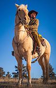 Cowboy on horseback in northeastern Wyoming