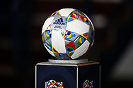 Match ball awaits for the start of the UEFA Nations League match between Scotland and Israel at Hampden Park, Glasgow, United Kingdom on 20 November 2018.