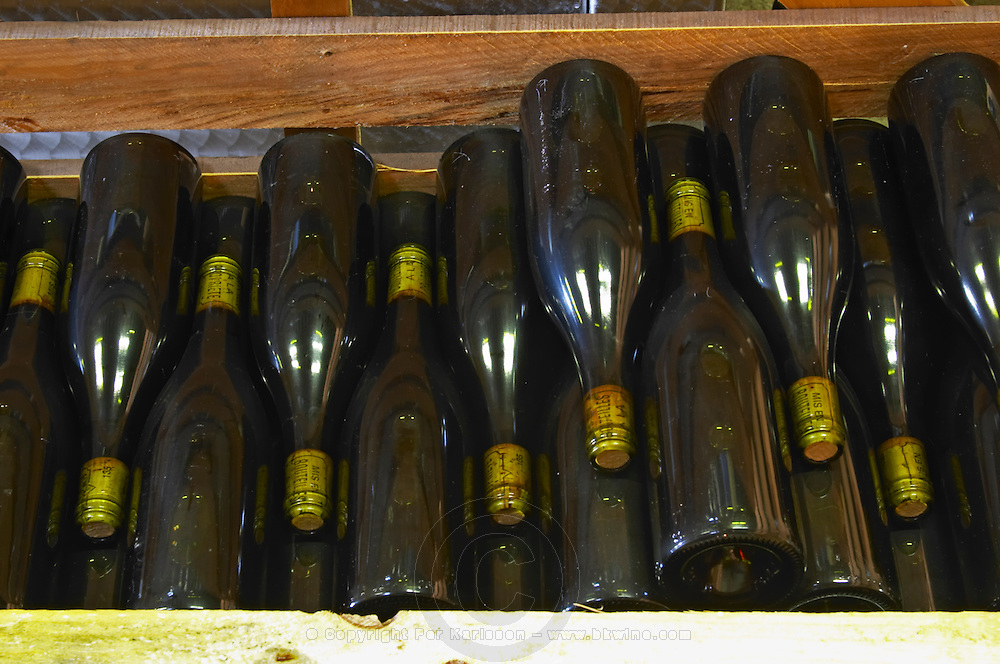 old bottles in the cellar domaine huguenot p & f marsannay cote de nuits burgundy france
