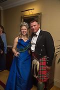 MRS. HOUSTON MORRIS; JUSTIN KERR-SMILEY, The Royal Caledonian Ball 2015. Grosvenor House. Park Lane, London. 1 May 2015.