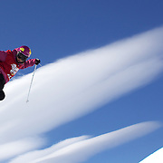 Janina Kuzma, New Zealand, in action during her third place finish in the Women's Halfpipe Finals during The North Face Freeski Open at Snow Park, Wanaka, New Zealand, 3rd September 2011. Photo Tim Clayton...