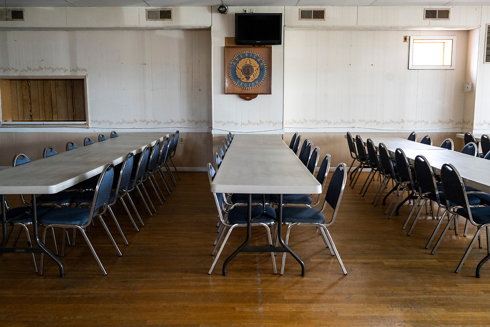 The empty and unused Joseph L. Davis American Legion Post 47 in Havre de Grace, Md., Thursday, April 23, 2020.<br /> <br /> As part of their COVID-19 response, members of Joseph L. Davis American Legion Post 47 in Havre de Grace, Md., have conducted buddy checks and maintained a food pantry to help their community during the outbreak on Thursday, April 23.  Photo by Matt Roth/The American Legion