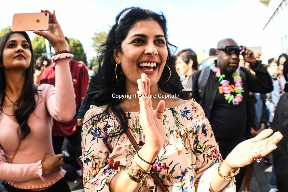 Hundreds attend the Carnival All-dayer – presented by Just Vibez a carnival warm up with Steelpan and Sweat in the City by Soca Fitness Fete at Great Big Summer Weekend on 25 August 2018 at Royal Festival Hall, London, UK.