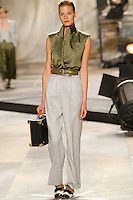 Constance Jablonski wearing Isaac Mizrahi Spring 2010 collection during Mercedes-Benz Fashion Week in New York, September 17, 2009