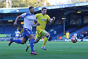 AFC Wimbledon defender Jon Meades (3) and Bury FC midfielder Tom Soares (19) during the The Emirates FA Cup 1st Round match between Bury and AFC Wimbledon at the JD Stadium, Bury, England on 5 November 2016. Photo by Stuart Butcher.
