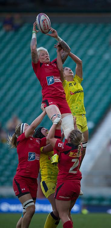 Twickenham. UK. Jennifer KISH, collects the line out ball during the women's rugby match Canada  vs Australia during the Women's Rugby 2015. Marriott London Sevens. RFU Twickenham Stadium. Surrey. 16.05.2015. [Mandatory Credit: Peter Spurrier/Intersport Images]