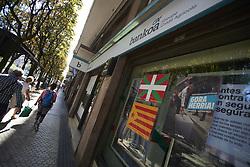 September 15, 2018 - San Sebastian, Spain - Yellow ribbons and flags in support of Catalan independence before the match between Real Sociedad against FC Barcelona at Anoeta Stadium in San Sebastian, Spain on September 15, 2018. (Credit Image: © Jose Breton/NurPhoto/ZUMA Press)