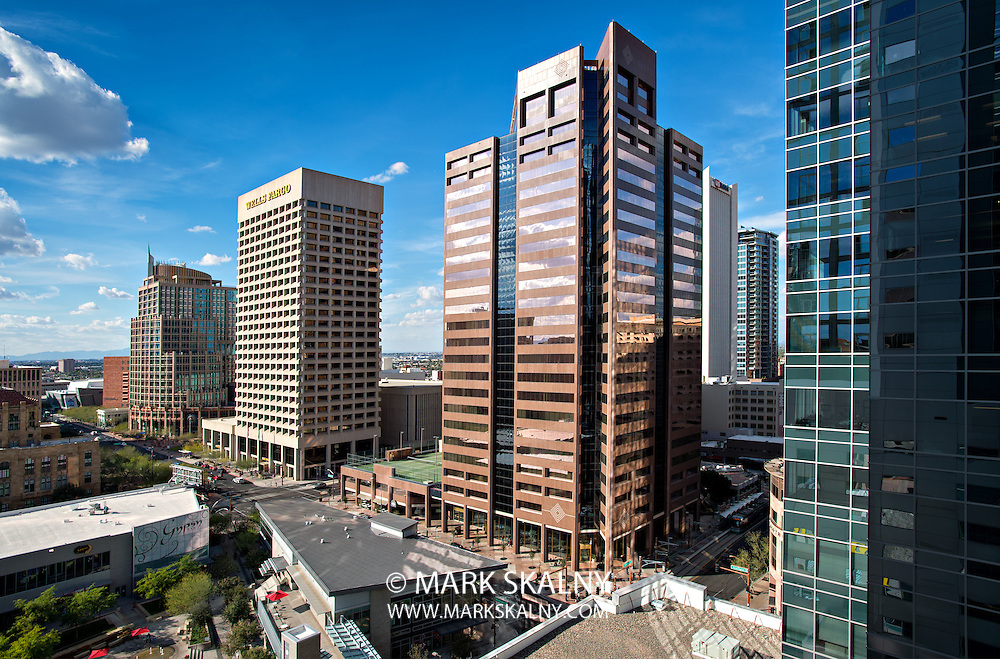 PHOENIX, USA - FEBRUARY 4: View of skyscrapers taken from the top of a CityScape Phoenix building on the corner of Washington and Central on February 4, 2014 in Phoenix, Arizona. Washington Street and Central Avenue is the heart of Downtown Phoenix, Arizona.