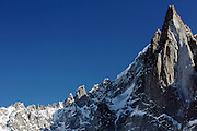 Aiguille du Dru, seen from the Mer de Glace train station, near Chamonix, in the French Alps