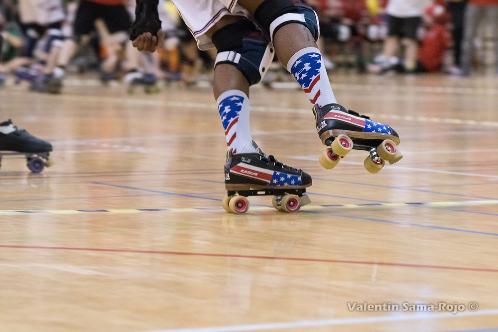 Barcelona, Spain. 08th April, 2018. Detail of the skates decorated with the USA flag color of a players of Team USA at MRDWC2018. © Valentin Sama-Rojo.
