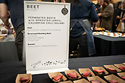 Beet, Beta vulgaris<br /> Showcase: 'Snowglobe', 'Blushing Not Bashful' and 'Moving Target'<br /> Breeder: Solveig Hanson, University of Wisconsin Chef: Jonny Hunter, Underground Food Collective