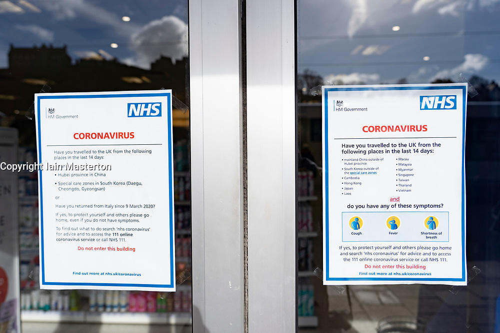 Edinburgh, Scotland, UK. 16 March, 2020. Effects of Coronavirus in Edinburgh City Centre today. Notices on door of Boots pharmacy with medical advice about Coronavirus. Iain Masterton/ Alamy Live News