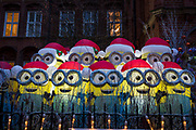 A Christmas Display of minions raising money for the Great Ormond Street hospital outside a west London church in London, United Kingdom.