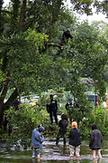 Environmental activists from HS2 Rebellion stand in the river Colne in Denham Country Park to try to prevent tree surgeons working with the National Eviction Team from removing an ancient alder tree as part of works for the HS2 high-speed rail link on 24th July 2020 in Denham, United Kingdom. A large security operation involving officers from the Metropolitan Police, Thames Valley Police, City of London Police and Hampshire Police as well as the National Eviction Team ensured the removal of the tree by HS2 despite the protests by activists.